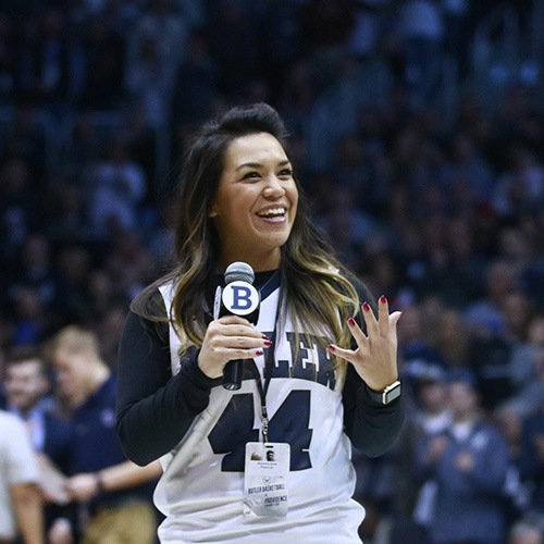 Samantha Smith talks to the crowd at a Butler basketball game.